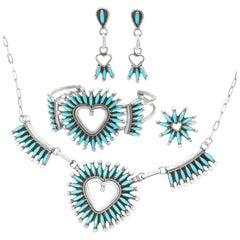 Zuni Sleeping Beauty Turquoise-Set by Dan Etsate