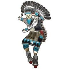 Zuni Sterling Silver Multi Stone Inlay Tribal Dancer Bolo Tie Slide