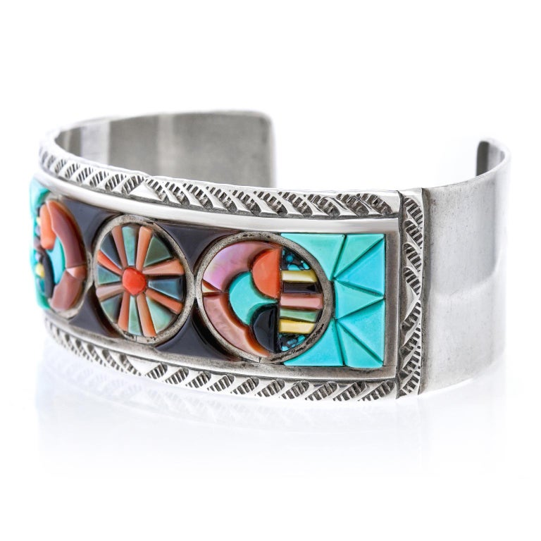Native American Zuni Stone Inlay Sterling Cuff Bracelet by Valentino and Matilda Banteah For Sale