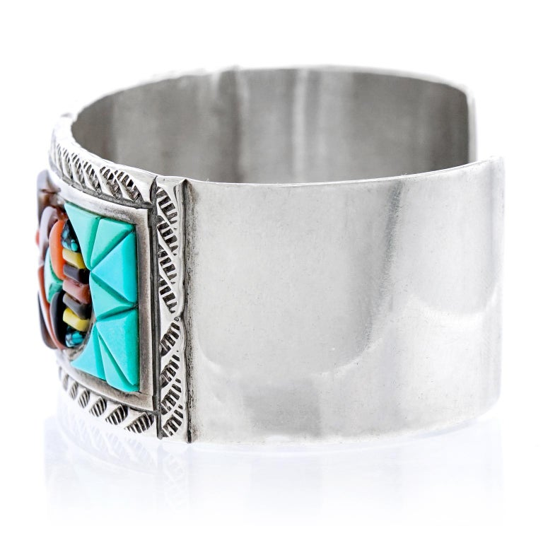 Zuni Stone Inlay Sterling Cuff Bracelet by Valentino and Matilda Banteah For Sale 1