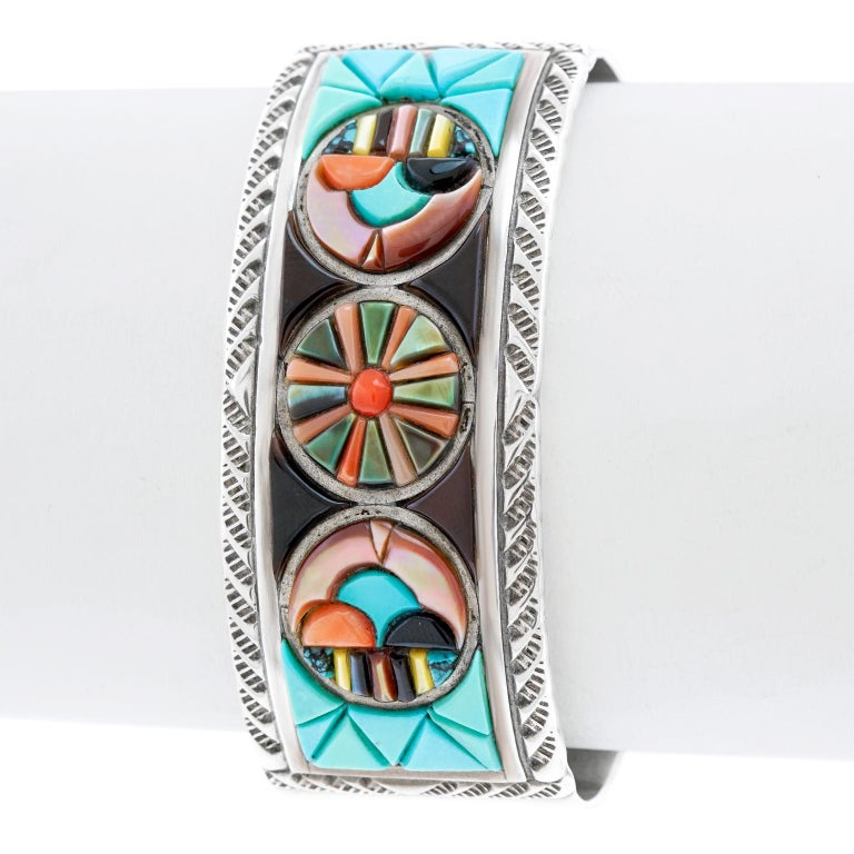 Zuni Stone Inlay Sterling Cuff Bracelet by Valentino and Matilda Banteah For Sale 3