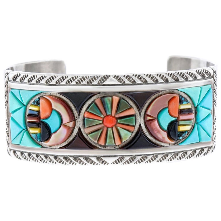 Zuni Stone Inlay Sterling Cuff Bracelet by Valentino and Matilda Banteah For Sale