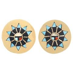 Zuni Sunface Stone Inlay Gold Earrings