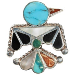 Zuni Thunderbird Turquoise and Sterling