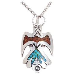 Zuni Thunderhawk Pendant Necklace Tribal Sterling Silver Coral Turquoise