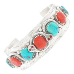 Zuni Turquoise and Coral Set Sterling Snake Cuff Bracelet