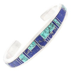 Zuni Turquoise and Lapis Inlay Sterling Cuff Bracelet