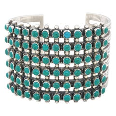 Zuni Turquoise and Sterling Cuff