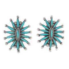 Zuni Turquoise and Sterling Earrings, circa 1970s