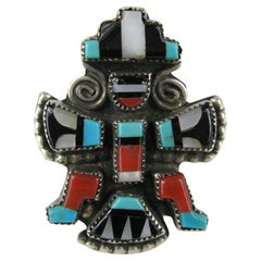 Zuni Turquoise Coral Sterling Silver Native American Knifewing Dancer Ring