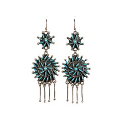 Zuni Turquoise Needlepoint Earrings