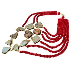 Zuri Perle Handmade Ihamora African Jasper and Crystal Necklace