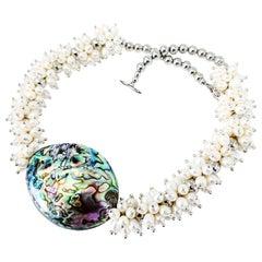 Zuri Perle Handmade  Iri Pearl and Abalone Necklace