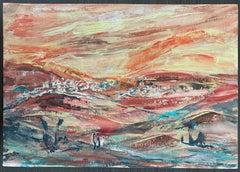 Hungarian Israeli Large  Landscape Painting of Judean Hills, Jerusalem, Israel