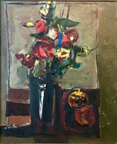 Israeli Abstract Flowers Tel Aviv Modernist Vibrant Floral Oil Painting