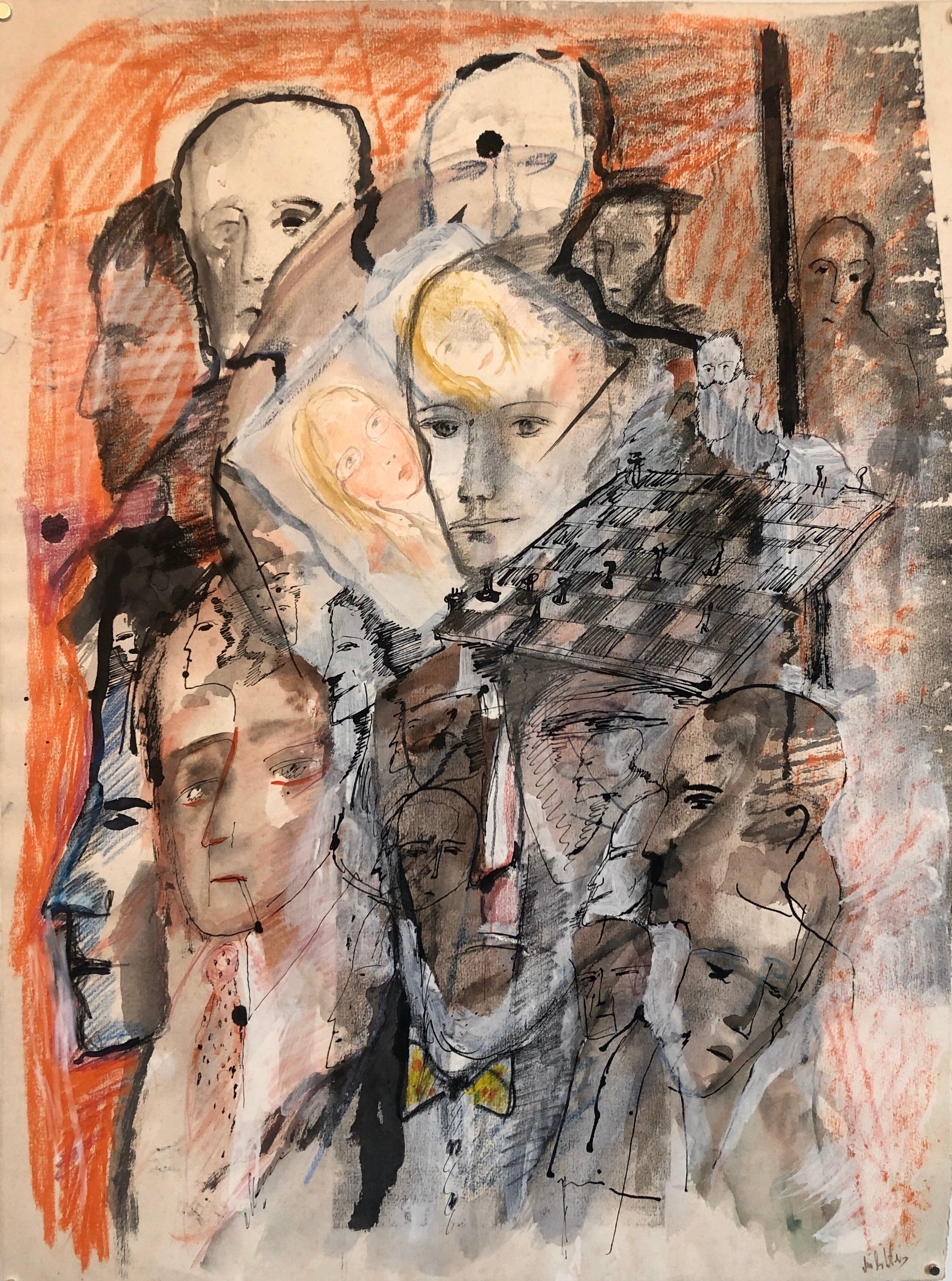 Chess Game Set French Israeli Surrealist Watercolor Gouache Painting