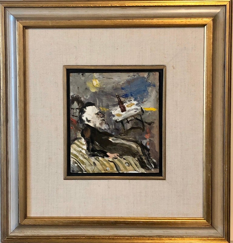 This is a small oil painting on on panel. A Rabbi at a Farbrengen 15.5 X 14.5 with frame. 6.5 X 5.5 painting alone  Zwy Milshtein (Zvi Tzvi Milstein)  BIOGRAPHY 1934 Born in Kishinev (Bessarabia) Russian, Romanian border region. He fled the Nazi