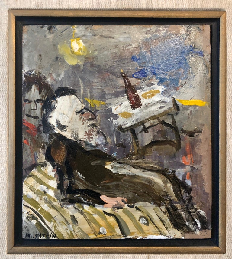 French Israeli Surrealist Judaica Jewish Oil Painting Rabbi at Table, Bottle For Sale 1