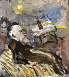 French Israeli Surrealist Judaica Jewish Oil Painting Rabbi at Table, Bottle