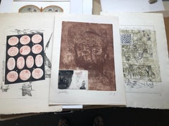 Group of 3 French Surrealist Aquatint Etchings Prints
