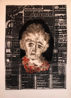 Portrait of Woman on Typeface French Jewish Surrealist Aquatint Etching Judaica