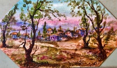 Israel Kibbutz Village Jerusalem Hills Judaica Oil Painting Famous Jewish Artist