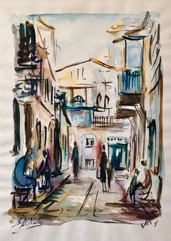 Israeli Judaica Jerusalem Street Watercolor Painting Israeli Jewish Rabbi Artist