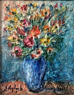 Vase of Flowers Judaica Oil Painting Israeli Jewish Rabbi Artist After Chagall