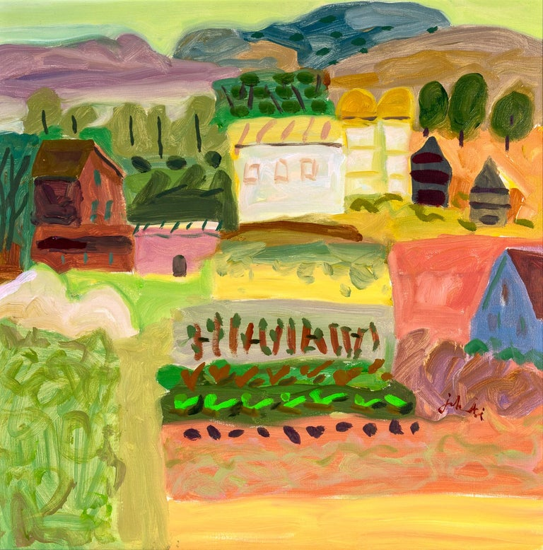 Zygmund Jankowski Landscape Painting - Barn and Garden