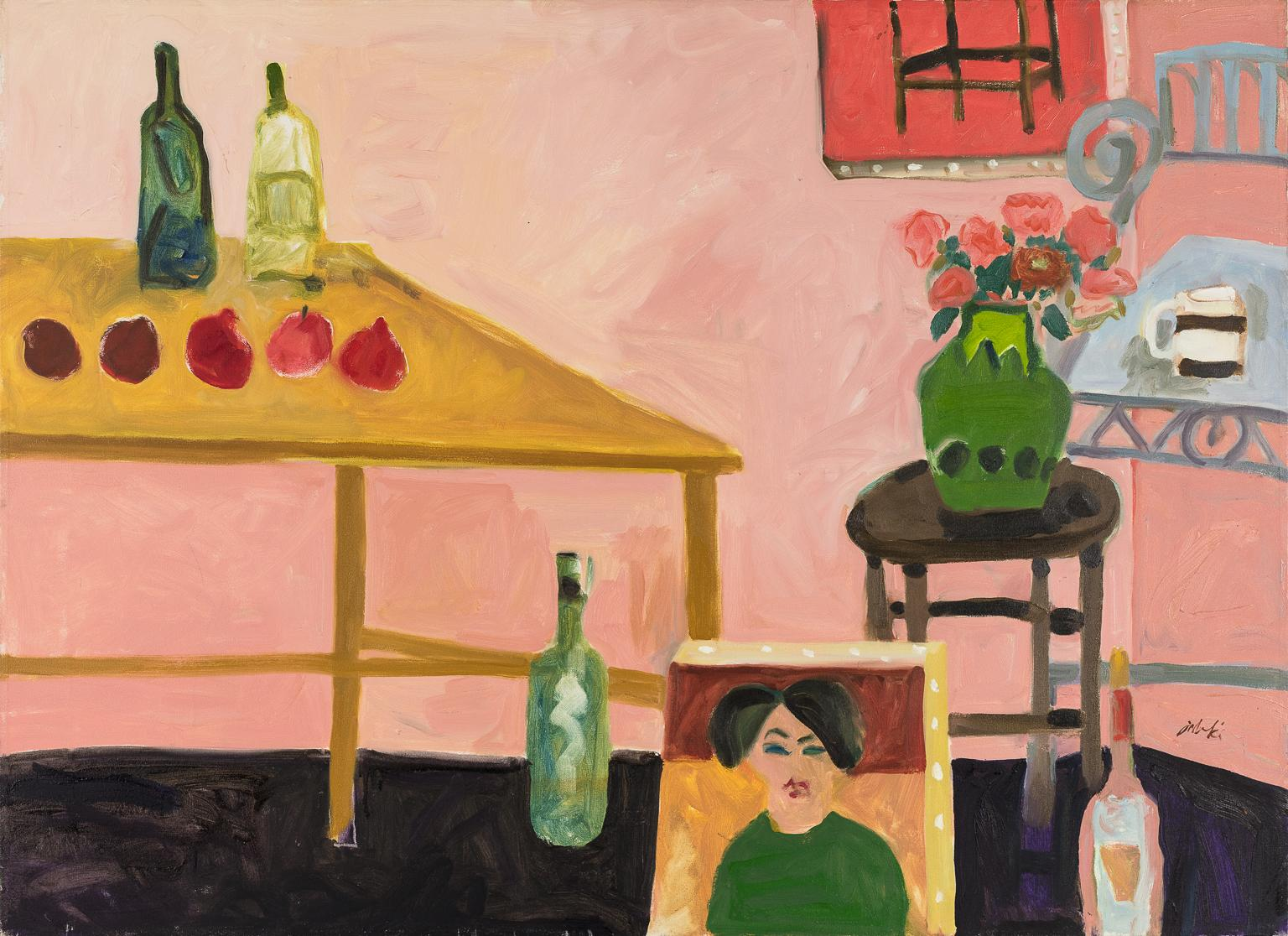 Wine Bottles and Fruit on Table