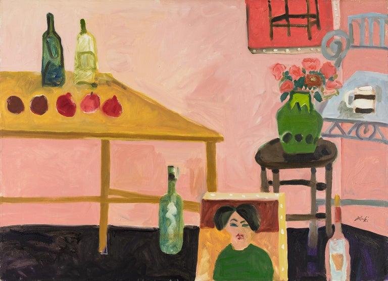 Zygmund Jankowski Interior Painting - Wine Bottles and Fruit on Table