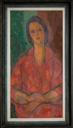 Femme Robe Rouge by Zygmunt Landau - School of Paris - Portrait