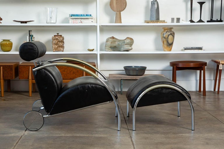 Post-Modern Zyklus Chair and Ottoman by Peter Maly For Sale
